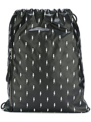 Neil Barrett Embroidered Lightning Bolt Backpack Black