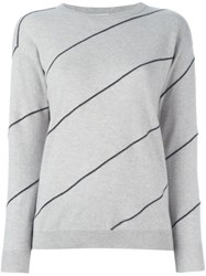 Brunello Cucinelli Beaded Stripe Jumper Nude And Neutrals