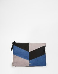 Faith Patchwork Clutch Bag In Suede Navy