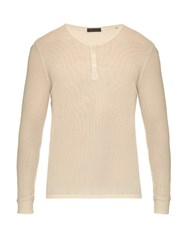 Atm Anthony Thomas Melillo Long Sleeved Cotton Blend Top Cream