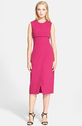 Narciso Rodriguez Asymmetrical Wrap Crepe Sheath Dress Deep Pink
