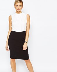 Oasis Color Block Pencil Dress Black