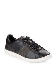 Karl Lagerfeld Emma Leather Lace Up Sneakers Black
