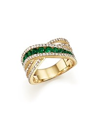Bloomingdale's Emerald And Diamond Crisscross Ring In 14K Yellow Gold