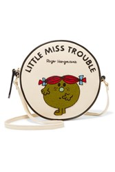 Olympia Le Tan Little Miss Trouble Appliqued Cotton Faille Shoulder Bag Cream