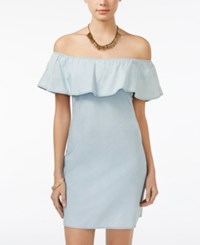 American Rag Ruffle Off The Shoulder Chambray Shift Dress Only At Macy's Denim