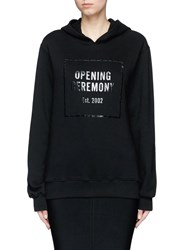 Opening Ceremony 'Gel Box' Logo Print Fleece Lined Hoodie Black