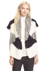 Vince Colorblock Genuine Rex Rabbit Fur Vest Multi