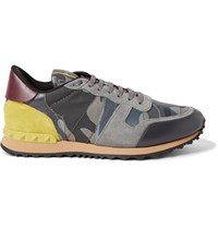 Valentino Camouflage Print Canvas Leather And Suede Sneakers Gray