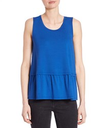 Lord And Taylor Pleated Roundneck Shell True Blue