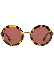 Miu Miu Round Frame Sunglasses Brown