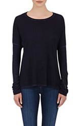 Skin Women's Cotton Linen Slub Knit Sweater Blue