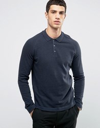 Selected Homme Long Sleeve Polo With Raglan Sleeve Navy
