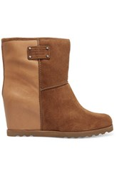 Marc By Marc Jacobs Suede And Leather Wedge Ankle Boots Tan