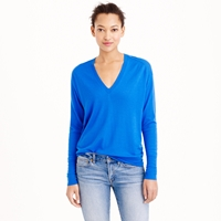 J.Crew Collection Featherweight Cashmere V Neck Boyfriend Sweater