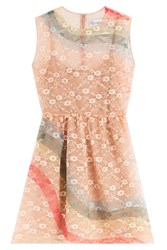 Red Valentino Sheath Dress With Rainbow Lace Overlay Rose