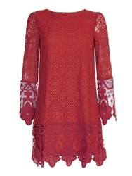 Mela London Art Deco Lace Tunic Dress Beet Red