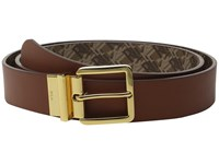 Lauren Ralph Lauren 1 3 8 Dobson Print Solid Smooth Reversible Belt With Square Endbar Metal Keeper Tan Women's Belts