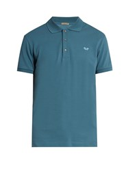 Bottega Veneta Logo Embroidered Cotton Pique Polo Shirt Blue