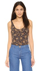 Free People Scooped Up Printed Bodysuit Royal Combo