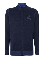 State Of Art Turtle Neck Concealed Zip Cardigan Navy