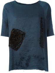 By Walid Embellished T Shirt Blue