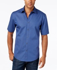 Alfani Men's Short Sleeve Gingham Shirt Mineral Blue