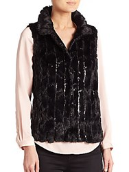 Milly Kira Sequin Faux Fur Vest Black