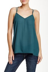Ro And De String Up Lace Back Tank Blue