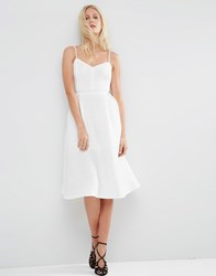 Asos Ribbed Strappy Prom Dress Ivory Cream