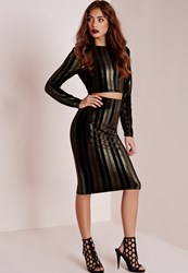 Missguided Velvet Gold Stripe Midi Skirt Black Black