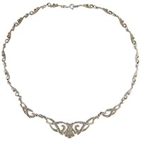 Susan Caplan Vintage 1940S Silver Plated Marcasite Necklace Silver
