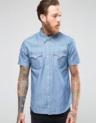 Levi's Denim Shirt Barstow Western Slim Fit Short Sleeve Light Stone Wash Esquire Stone Light Blue