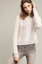 Anthropologie Marie Cabled Pullover Grey Motif