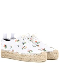 Saint Laurent Floral Printed Leather Espadrille Style Sneakers White