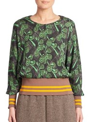 A Detacher Floral Printed Silk Blend Top Green