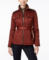Vince Camuto Belted Quilted Puffer Coat Hunter