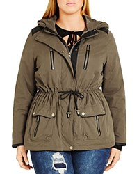 City Chic In Line Parka Dark Green