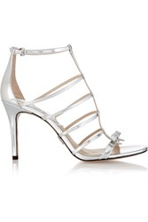 Michael Kors Collection Blythe Bow Embellished Metallic Leather Sandals Silver