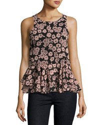 Milly Floral Print Ruffle Hem Tank Light Pink