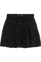 Iro Carmel Lace Up Chiffon And Tulle Mini Skirt Black