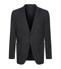 Tom Ford Micro Square Melange Jacket Male Dark Grey