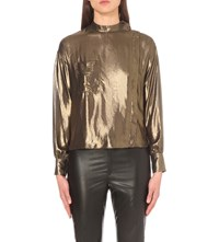 Etoile Isabel Marant Melva High Neck Metallic Blouse Dore