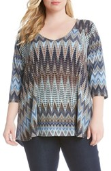 Karen Kane Plus Size Women's 'Desert Zigzag' Print V Neck Top