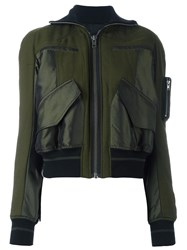 Haider Ackermann Contrast Panel Bomber Jacket Green