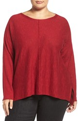 Eileen Fisher Plus Size Women's Organic Linen And Cotton Bateau Neck Sweater China Red