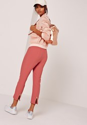 Missguided Cropped Cigarette Trouser With Zip Back Detail Pink
