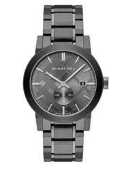 Burberry Check Stamped Stainless Steel Watch Dark Silver