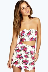 Boohoo Nikita Floral Skirt And Crop Co Ord Multi