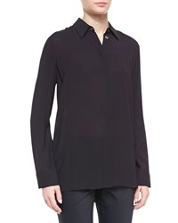 The Row Long Sleeve Collared Blouse Black